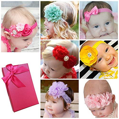 (Elesa Miracle Baby Girl Nylon Headbands and Bows Gift Box Set for Newborn Infant Toddler Kids)