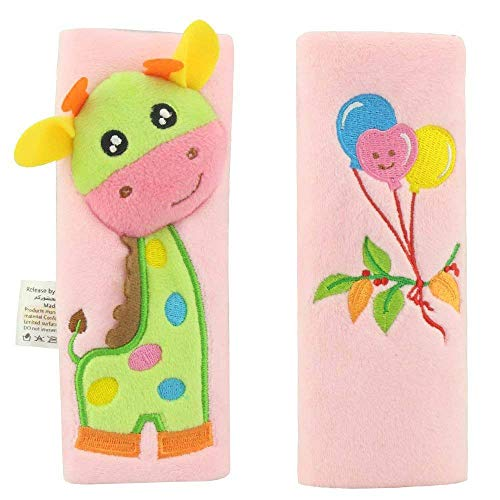 Toddler Car Seat Strap Covers - Child Strollers Shoulder Pads Kids Booster Seat Belt Cover Pink Giraffe for Baby Girls