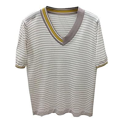 9cc4b6f8c4412 Xmy Qualité printemps V-cou de couleur frappé manches courtes T-shirt en  soie