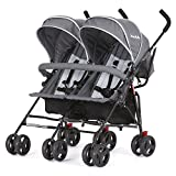 Dream On Me Volgo Twin Umbrella Stroller, Dark/Light Grey