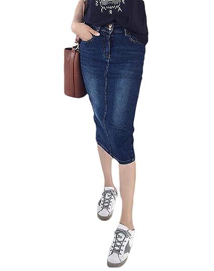 ShuangRun Falda de Jean Lavada de Talle Alto para Mujer, Estilo ...