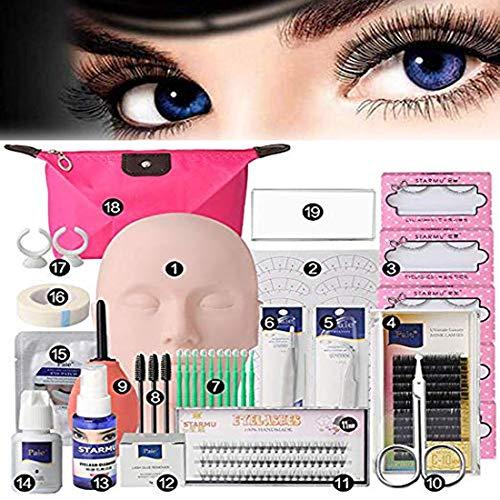 19pcs Eyelash Extension Kits,Professional Mannequin Head Training Eyelashes Extensions Practice Cosmetology Esthetician (19pcs Eyelash Extension Kits)