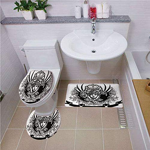 Bath mat Set Round-Shaped Toilet Mat Area Rug Toilet Lid Covers 3PCS,Queen,Decorative Vintage Ornate Banner with Woman Portrait Historical Heraldic Royal Decorative,Black and White,Printed