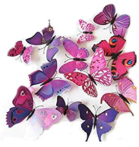 12-Piece 3D Mix Colour Butterfly Wall Stickers Decoration