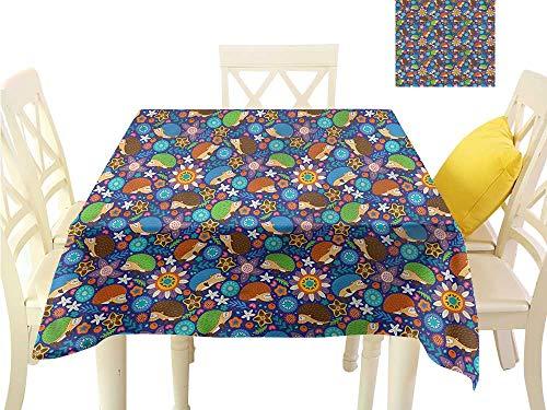 WilliamsDecor Picnic Cloth Animal,Cartoon Hedgehogs Woodland Kitchen Table Cover W 36