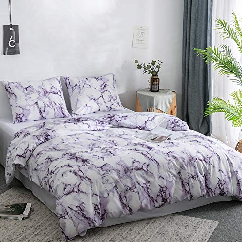 Argstar 3 Pcs Duvet Cover Set Queen, Marble Printed Bedding Sets, Purple and White Abstract Comforter Cover with Zipper Ties, Soft Lightweight Microfiber, 1 Duvet Cover and 2 Pillow Shams (Purple And Duvet White Cover)