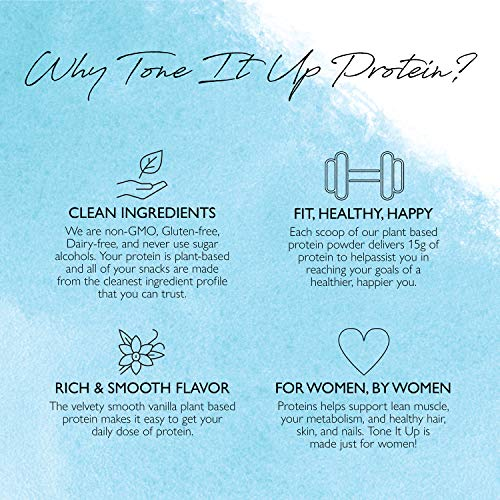 Tone It Up Plant Based Vanilla Protein Powder - Organic Pea Protein for Women - Sugar Free, Gluten Free, Dairy Free and Kosher - 15g of Protein x 28 Servings - 1.54 lbs