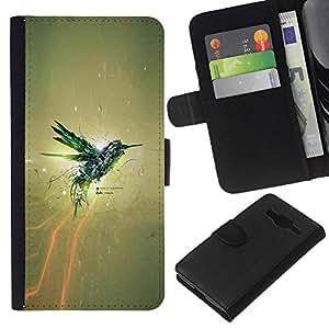 LECELL--Cuero de la tarjeta la carpeta del tirón Smartphone Slots Protección Holder For Samsung Galaxy Core Prime -- IMPRESIONANTE COLIBRI --