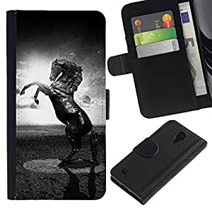 KingStore / Leather Etui en cuir / Samsung Galaxy S4 IV I9500 / Caballo Negro Blanco Mustang Potente Sun