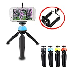 Kupx high grade hit color Universal Tripod Mini 360 Rotatable Stand Tripod Mount and Cell Phone Clip Clamp Holder for iphone6 plus samsung blue