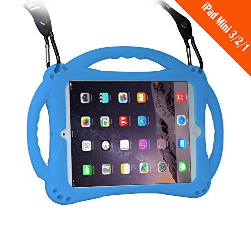 ([New Design]TopEs iPad Mini Case Kids Shockproof Handle Stand Cover&(Tempered Glass Screen Protector) for iPad Mini, Mini 2, Mini 3 and iPad Mini Retina Models (Blue))