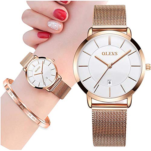Ultra Thin Minimalist Watches for Women with Fashion Bracelet Gift Set Rose Gold,OLEVS Ladies Slim Casual Dress Quartz White Face Dial Analog Date Wrist Watch Waterproof with Milanese Mesh Band Golden