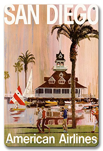 Pacifica Island Art 8in x 12in Vintage Tin Sign - San Diego - California - American Airlines by Van Kaufman