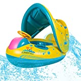 LAMASTON Inflatable Snow Sled with Canopy Swimming Floats & Ski Circle Double Use for Kids Outdoor Sport