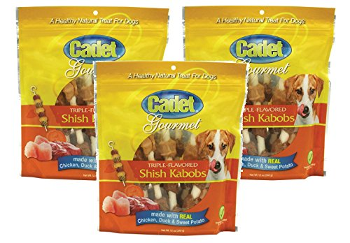 (3 Pack) Cadet Triple Flavored Dog Treat Shish Kabobs, 12 oz
