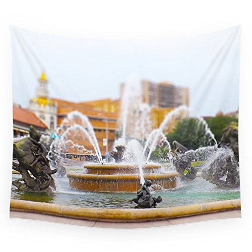 Society6 JC Nichols Horse Fountain Kansas City Country Club Plaza Tilt Shift Wall Tapestry Large: 88