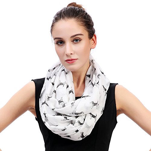 Lina & Lily Sketch of Dogs Print Women's Infinity Scarf Lightweight (Beagle-White) by Lina & Lily (Image #4)