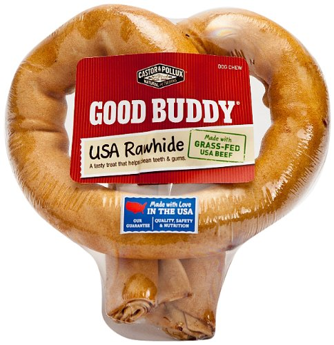 [Good Buddy 1 Count USA Rawhide Pretzel Treat for Pets, 6-Inch] (Pollux Rawhide)