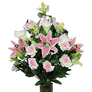 Stay-In-The-Vase Artificial Cemetery Flowers for Outdoor-Grave-Decorations - Cream Pink-Rose and Lily Mix Fake Flowers, Non-Bleed Colors, with Design 13