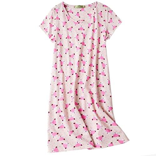 ENJOYNIGHT Women's Sleepwear Cotton Sleep Tee Short Sleeves Print Sleepshirt (X-Large, Fox)