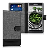(US) kwmobile Wallet case canvas cover for Blackberry Priv - Flip case with card slot and stand in grey black