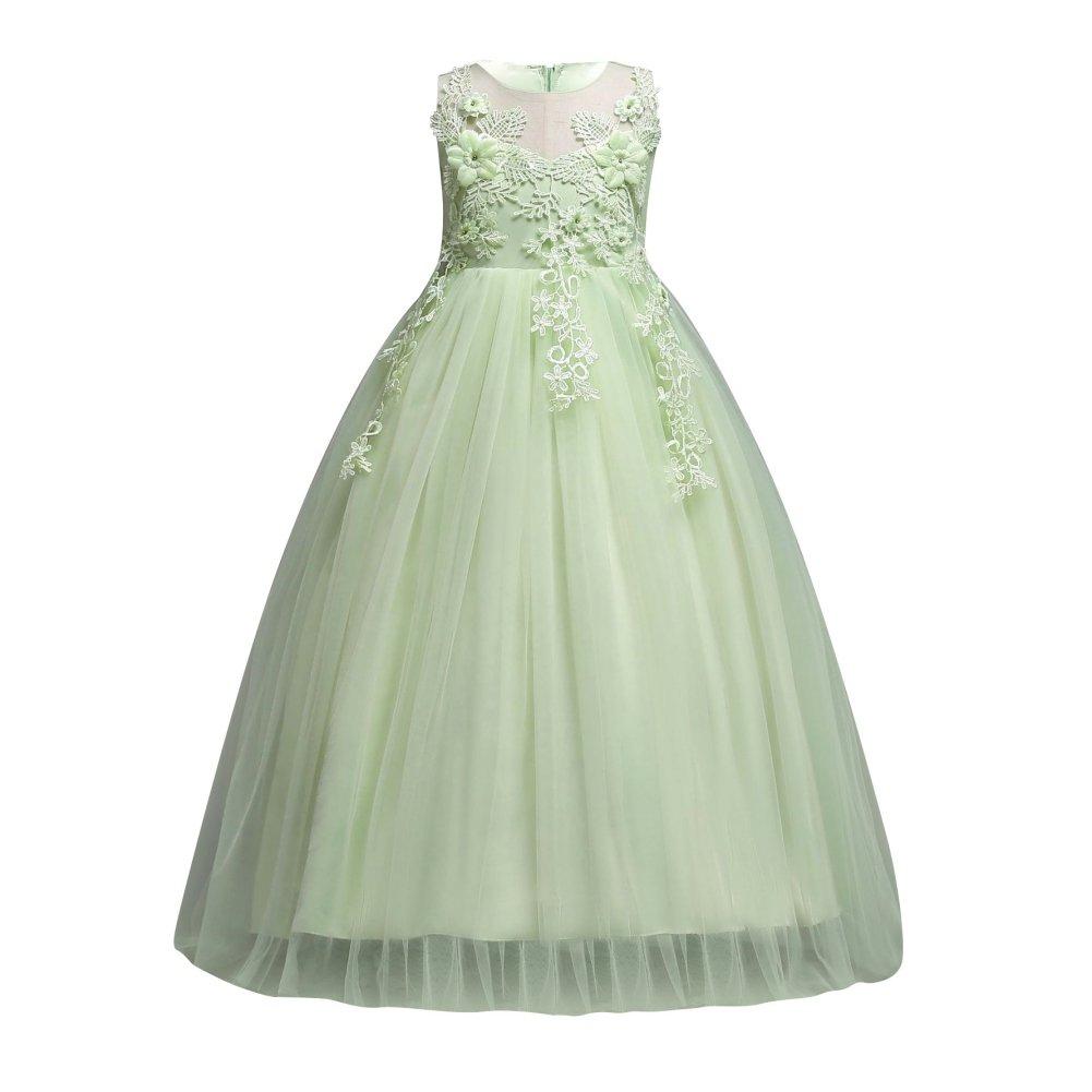 Soly Tech Flower Girls Wedding Bridesmaid Dresses Sleeveless Applique Elegant Maxi Dress