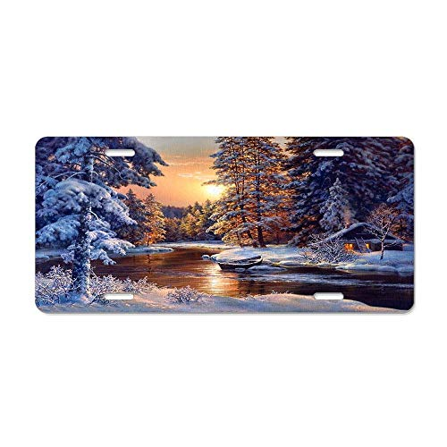 (MilitaryAutoTag Peaceful Forest Trees Cottage River License Plate Cover Aluminum Metal for US Vehicles, Car Tag Decoration for Women/Men, 12 x 6 Inch)
