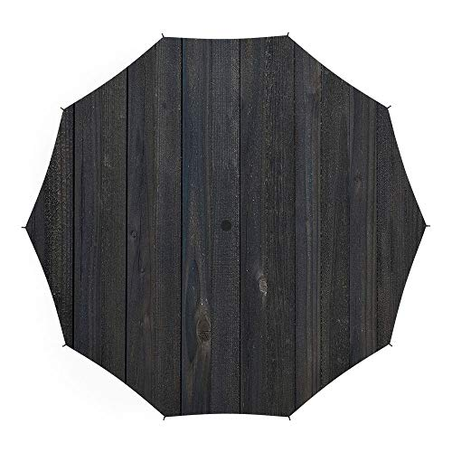 Travel Umbrella,Dark Grey,Auto Open Close Umbrella 45 Inch,Wood Fence Texture Image Rough Rustic Weathered Surface Timber Oak Planks Decorative