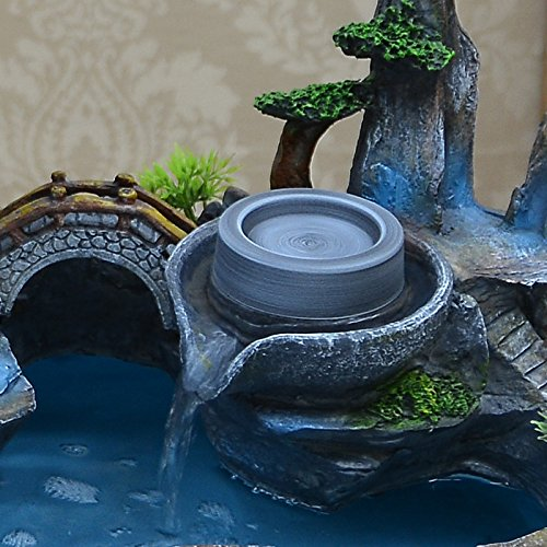 Bonsai decoration Feng Shui luck rockery and pond water fountain humidifier living room home furnishings by ZEM-PXD (Image #2)