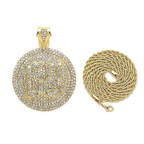 NYFASHION101 Stone Stud 69 Hip-Hop Medal Pendant with 2mm 24 Rope Chain Necklace in Gold-Tone