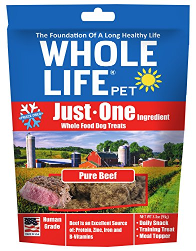 Whole Life Pet Just One-Single Ingredient Freeze Dried Treats For Dogs Pure Beef, 3.3Oz