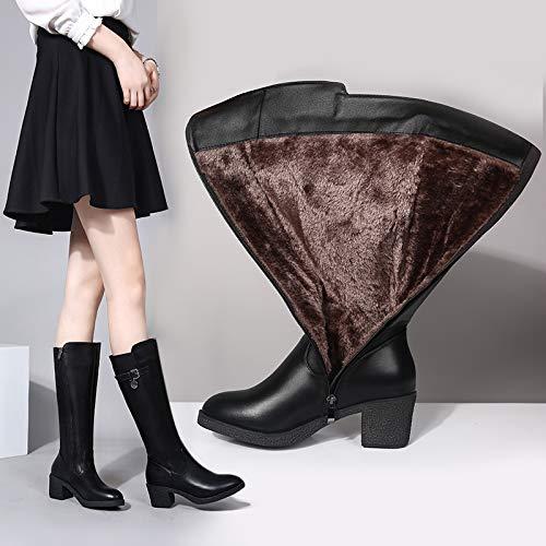 Shukun Stiefeletten Damenstiefel Winter Pu Hohe Stiefel mit dicken Absatzstiefeln Aber Kniestiefel Damenstiefel Stiefel Stiefel
