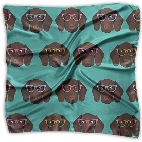 Women's Accessories Scarves & Shawl & Square - Business Silk Scarves German Shorthaired Pointer In Glasses Graphic Print Neckerchief Female Satin Hair Scarf Wrap Headscarf Ties ()