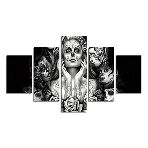 (AtfArt 5 Piece Canvas painting picture sugar skull modern decor art wall art canvas print home bedroom decoration (No Frame) Unframed far249 50 inch x30 inch )