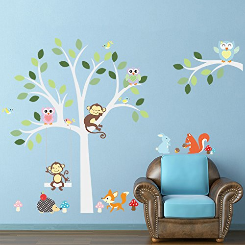 [Ayutthaya shop Clever fox squirrel monkeys, owls, tree wall decals for White. Children love birds Vinyl Wall Decal Sticker Nursery] (Cute Halloween Names For Kittens)