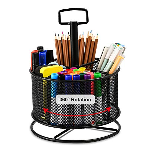 Marbrasse Mesh Desk Organizer, 360-Degree Rotating Multi-Functional Pen Holder, 4 Compartments Desktop Stationary Organizer, Home Office Art Supply Storage Box Caddy