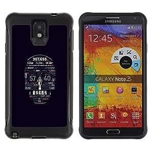 All-Round híbrido Heavy Duty de goma duro caso cubierta protectora Accesorio Generación-II BY RAYDREAMMM - Samsung Galaxy Note 3 - Skull Numbers Death Time Skeleton Art