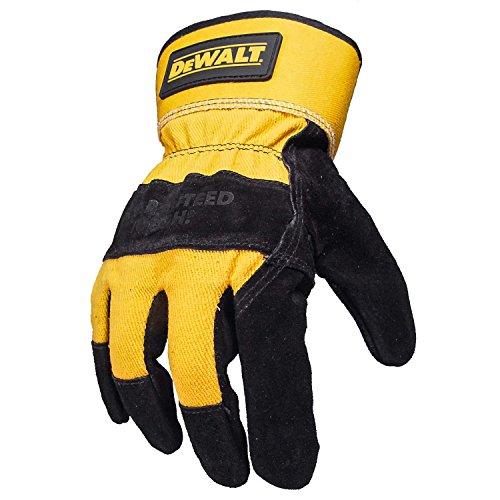 Dewalt DPG41 Premium Split Cowhide Lather Palm Glove Black/Gray (Leather Glove Dewalt Palm)