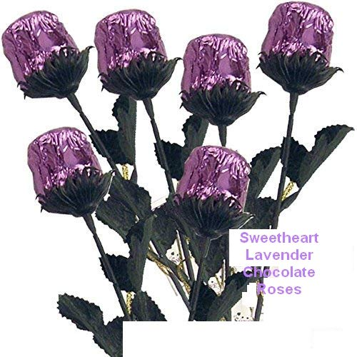 Bouquet of 12 Chocolate Sweetheart Lavender Roses - Solid Premium 9 1/2'' Milk Chocolate Rose Wrapped in Shiny Lavender Italian Foil by FavorOnline