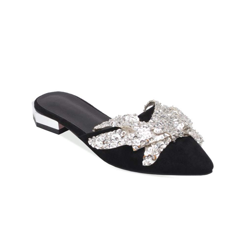 Black T-JULY Women Summer Glitter Flat Loafers shoes Fashion Pointed Toe Comfortable Summer Slippers shoes