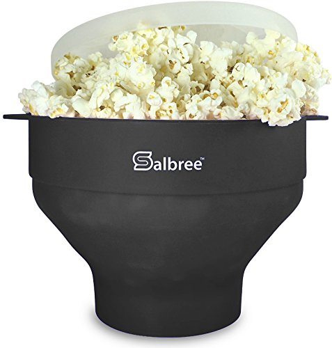 The Original Salbree Microwave Popcorn Popper, Silicone Popcorn Maker, Collapsible Bowl BPA Free - 14 Colors Available (Black)