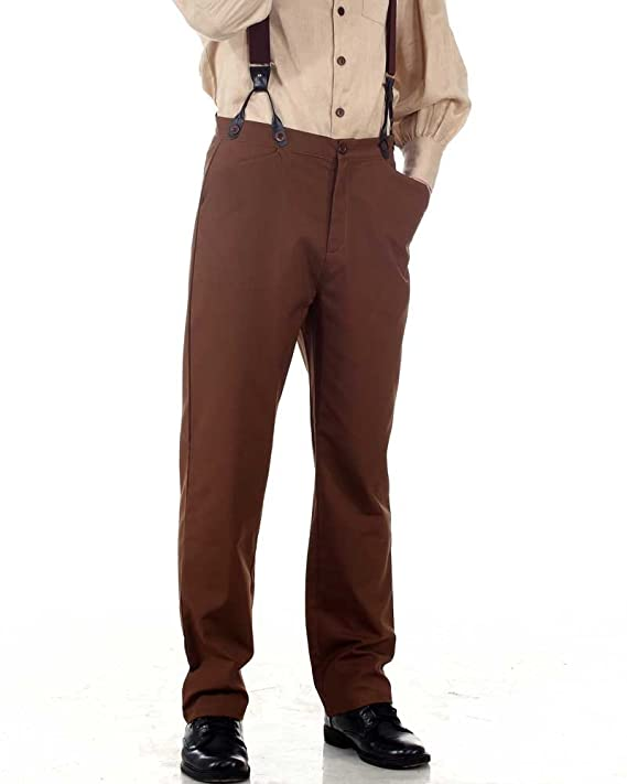 Men's Vintage Pants, Trousers, Jeans, Overalls  Victorian Trousers Pants-Brown  AT vintagedancer.com
