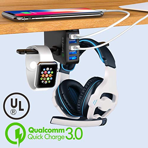 Headphone Stand with USB Charger – Under Desk Headset Hook Holder Hanger Mount w/ 5 USB Port Quick Charge 3.0 Charging Station (8A/40W)and Cable Organizer for PC Gaming Headsets Accessories, UL Listed