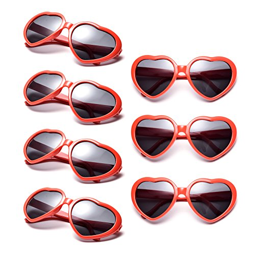Neon Colors Party Favor Supplies Wholesale Heart Sunglasses (7 Pack - Eyeglasses Heart Shaped