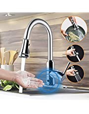 Motion Sensor Touchless Kitchen Faucet,Soosi Automatic Pull Down Kitchen Faucet Single Handle One/3 Hole 3 Setting Sprayer Polished Chrome Kitchen Faucets Spot Free Solid Brass Stainless Steel Lead Free