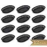 Pack of 12 - TrueCraftware Black Plastic Oval Fast Food Baskets - 10 1/2'' X 7'' (270 x 175mm)