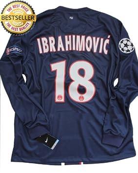 save off 02d8a e1cc0 LONG SLEEVE LS SLATAN IBRAHIMOVIC #18 UCL NEW 12-13 PARIS ...