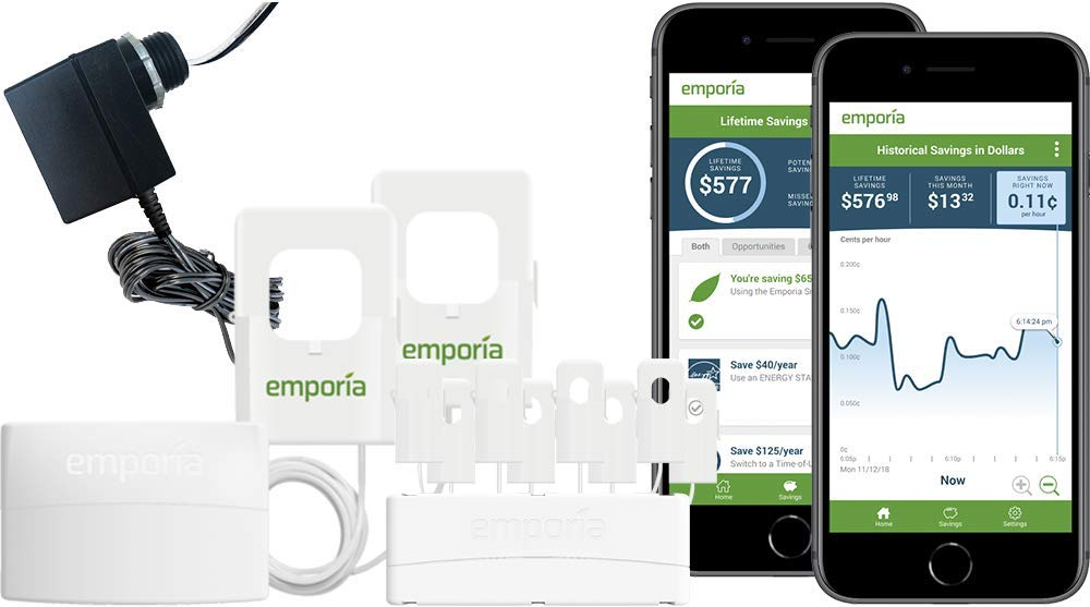 Emporia Vue Smart Home Energy Monitor with Expansion Module and 8 Sensors | Real Time 24/7 Electricity Monitor/Meter | iOS/Android App | Track Individual Electric Circuits Without the Guesswork