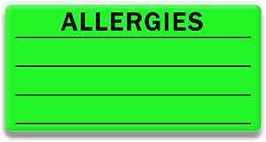 Allergies Sticker Fluorescent Green 300 Allergy Stickers, Write on