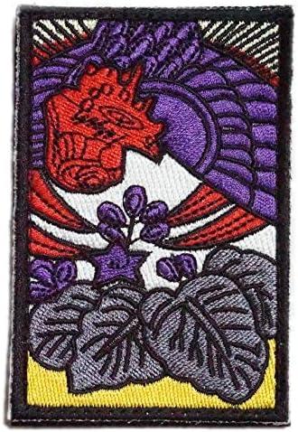 [ ワッペン屋Dongri ] 刺繍 ベルクロ ワッペン パッチ 花札 桐に鳳凰 A0356